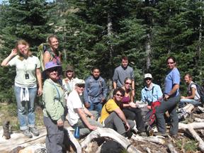2009 interns and staff on Mt Ashland orientation seminar (72ppi 4x)