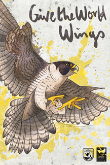 """Artwork of the USFWS Migratory Bird Treaty Centennial campaign. The art style, known as """"Graffiti Bird,"""" will be infused into the BirdTrippers website, t-shirts worn by the ambassadors, and other outreach materials."""